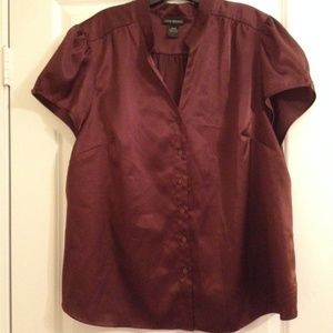 Lane Bryant deep burgundy 22/24 satin blouse top